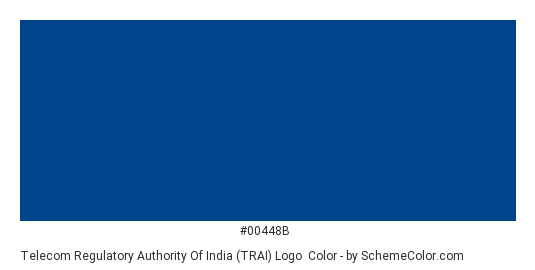 Telecom Regulatory Authority of India (TRAI) Logo - Color scheme palette thumbnail - #00448b