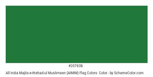All India Majlis-e-Ittehad-ul Muslimeen (AIMIM) Flag Colors - Color scheme palette thumbnail - #20783b