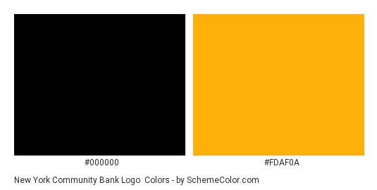 New York Community Bank Logo - Color scheme palette thumbnail - #000000 #fdaf0a