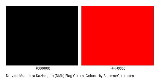 Dravida Munnetra Kazhagam (DMK) Flag Colors - Color scheme palette thumbnail - #000000 #ff0000