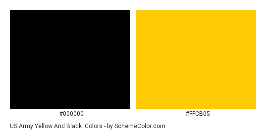 US Army Yellow and Black - Color scheme palette thumbnail - #000000 #ffcb05