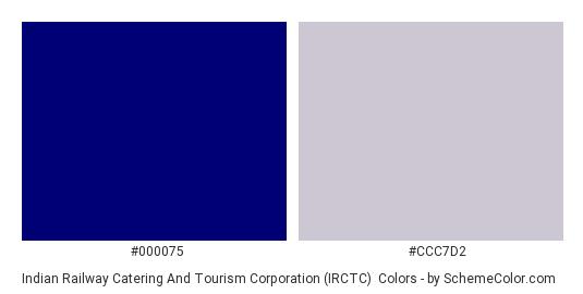 Indian Railway Catering and Tourism Corporation (IRCTC) - Color scheme palette thumbnail - #000075 #ccc7d2