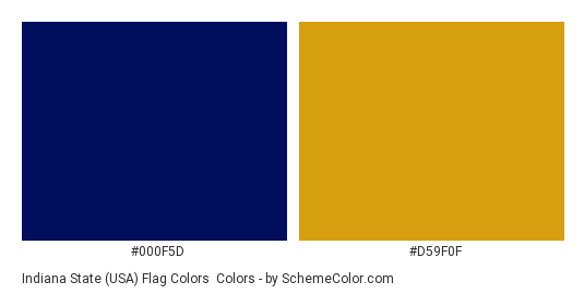 Indiana State (USA) Flag Colors - Color scheme palette thumbnail - #000f5d #d59f0f