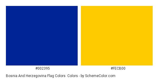 Bosnia and Herzegovina Flag Colors - Color scheme palette thumbnail - #002395 #fecb00