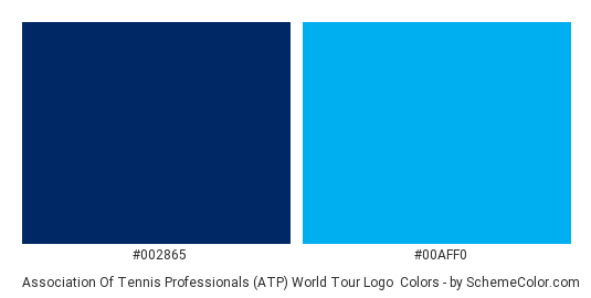 Association of Tennis Professionals (ATP) World Tour Logo - Color scheme palette thumbnail - #002865 #00aff0