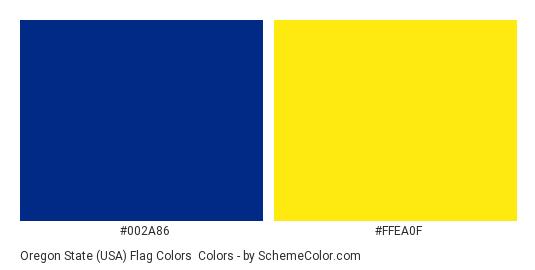 Oregon State (USA) Flag Colors - Color scheme palette thumbnail - #002a86 #ffea0f