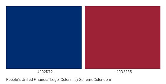 People's United Financial Logo - Color scheme palette thumbnail - #002d72 #9d2235