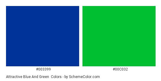 Attractive Blue and Green - Color scheme palette thumbnail - #003399 #00C032