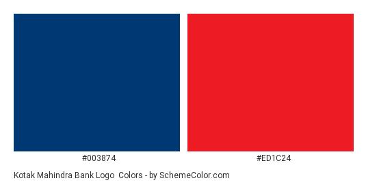 Kotak Mahindra Bank Logo - Color scheme palette thumbnail - #003874 #ed1c24