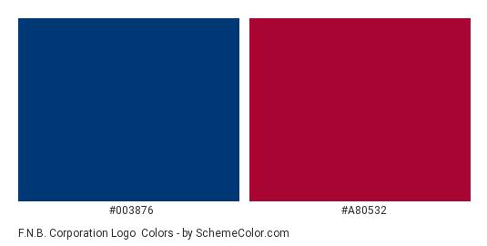 F.N.B. Corporation Logo - Color scheme palette thumbnail - #003876 #a80532