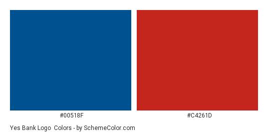 Yes Bank Logo - Color scheme palette thumbnail - #00518f #c4261d
