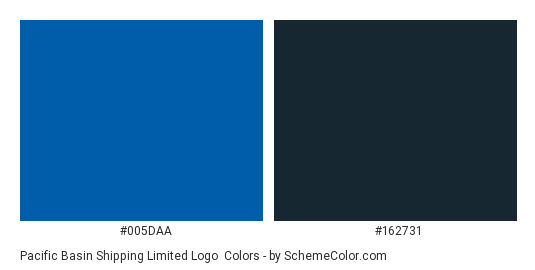 Pacific Basin Shipping Limited Logo - Color scheme palette thumbnail - #005daa #162731