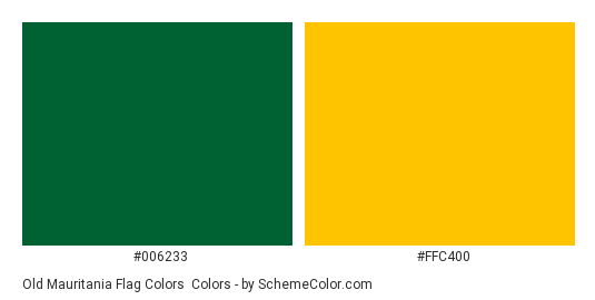 Old Mauritania Flag Colors - Color scheme palette thumbnail - #006233 #ffc400