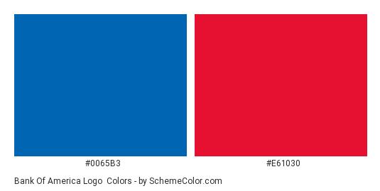 Bank of America Logo - Color scheme palette thumbnail - #0065b3 #e61030