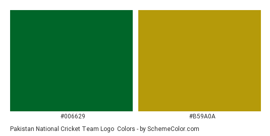 Pakistan National Cricket Team Logo - Color scheme palette thumbnail - #006629 #b59a0a
