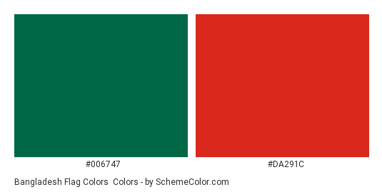 Bangladesh Flag Colors - Color scheme palette thumbnail - #006747 #DA291C