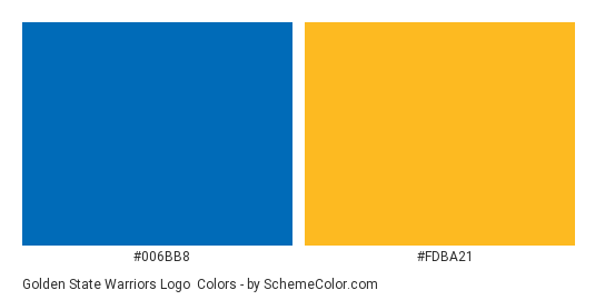 Golden State Warriors Logo - Color scheme palette thumbnail - #006bb8 #fdba21