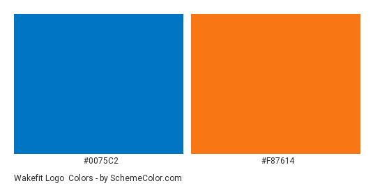 Wakefit Logo - Color scheme palette thumbnail - #0075c2 #f87614