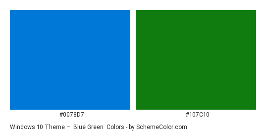Windows 10 Theme Blue Green Color Scheme Palette Thumbnail 0078d7 107c10