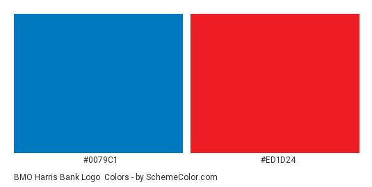 BMO Harris Bank Logo - Color scheme palette thumbnail - #0079c1 #ed1d24