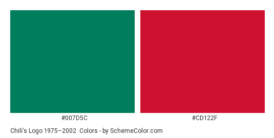 Chili's Logo 1975–2002 - Color scheme palette thumbnail - #007d5c #cd122f