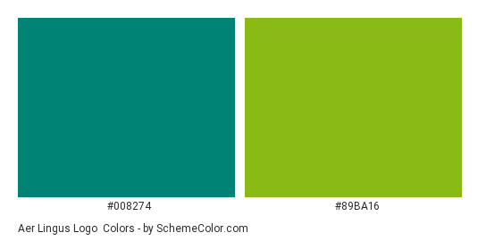 Aer Lingus Logo - Color scheme palette thumbnail - #008274 #89ba16