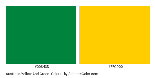 Australia Yellow And Green Color Scheme Palette Thumbnail 0084 Ffcd00