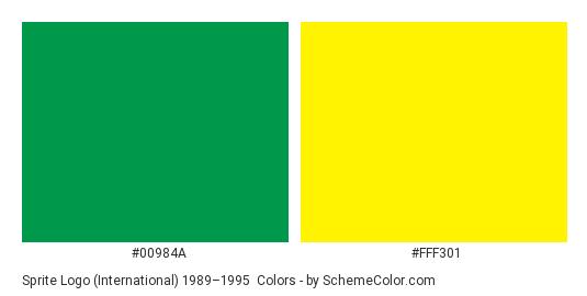 Sprite Logo (International) 1989–1995 - Color scheme palette thumbnail - #00984a #fff301