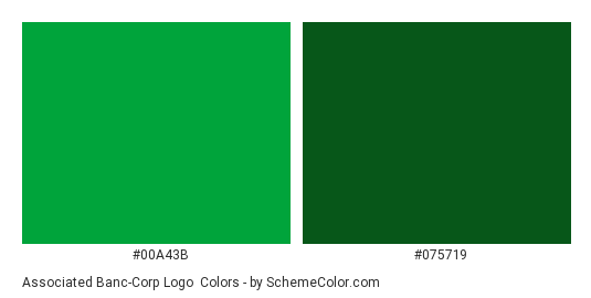 Associated Banc-Corp Logo - Color scheme palette thumbnail - #00a43b #075719