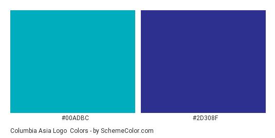 Columbia Asia Logo Color Scheme Palette Thumbnail 00adbc 2d308f