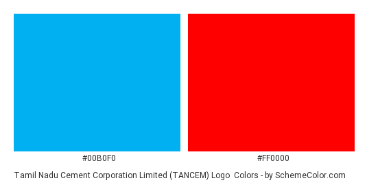 Tamil Nadu Cement Corporation Limited (TANCEM) Logo - Color scheme palette thumbnail - #00b0f0 #ff0000