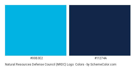 Natural Resources Defense Council (NRDC) Logo - Color scheme palette thumbnail - #00b3e2 #11274a