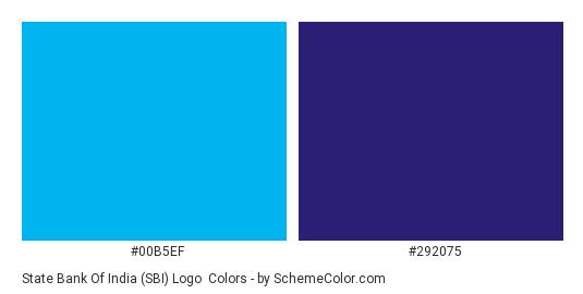 State Bank of India (SBI) Logo - Color scheme palette thumbnail - #00b5ef #292075