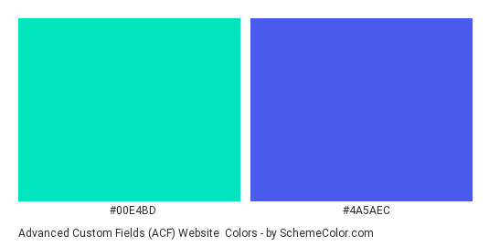 Advanced Custom Fields (ACF) Website - Color scheme palette thumbnail - #00e4bd #4a5aec