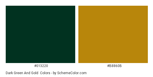 Dark Green and Gold - Color scheme palette thumbnail - #013220 #B8860B
