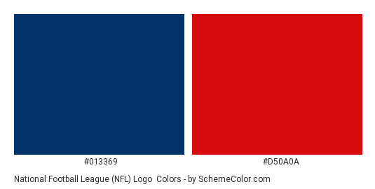 National Football League (NFL) Logo - Color scheme palette thumbnail - #013369 #d50a0a