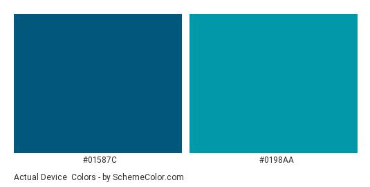 Actual Device - Color scheme palette thumbnail - #01587c #0198aa