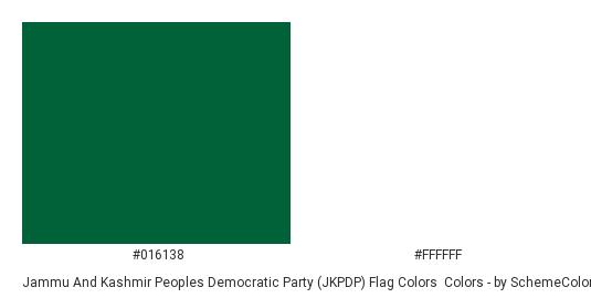 Jammu and Kashmir Peoples Democratic Party (JKPDP) Flag Colors - Color scheme palette thumbnail - #016138 #ffffff