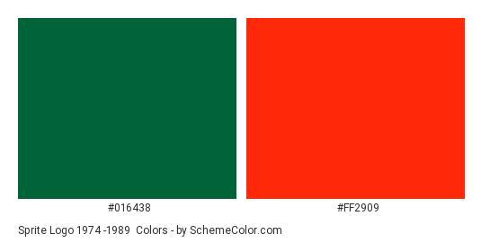 Sprite Logo 1974 -1989 - Color scheme palette thumbnail - #016438 #ff2909