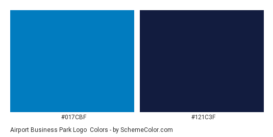 Airport Business Park Logo - Color scheme palette thumbnail - #017cbf #121c3f