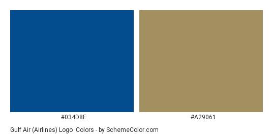 Gulf Air (Airlines) Logo - Color scheme palette thumbnail - #034d8e #a29061