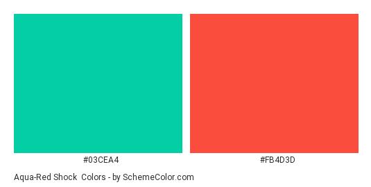 Aqua Red Shock Color Scheme Palette Thumbnail 03cea4 Fb4d