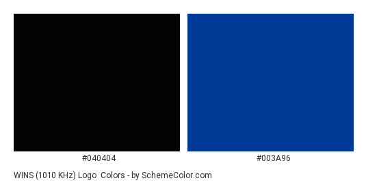 WINS (1010 kHz) Logo - Color scheme palette thumbnail - #040404 #003a96