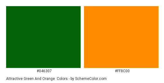 Attractive Green and Orange - Color scheme palette thumbnail - #046307 #FF8C00