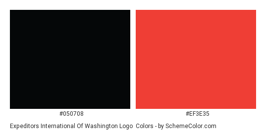 Expeditors International of Washington Logo - Color scheme palette thumbnail - #050708 #ef3e35