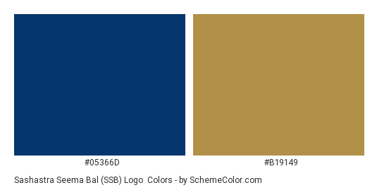 Sashastra Seema Bal (SSB) Logo - Color scheme palette thumbnail - #05366d #b19149