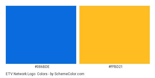 ETV Network Logo - Color scheme palette thumbnail - #086bde #ffbd21