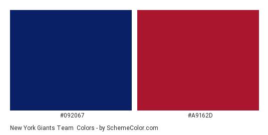 New York Giants Team - Color scheme palette thumbnail - #092067 #a9162d