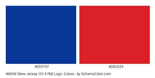 WKXW (New Jersey 101.5 FM) Logo - Color scheme palette thumbnail - #093797 #db2029