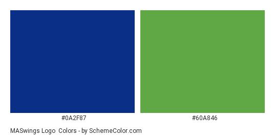MASwings Logo - Color scheme palette thumbnail - #0a2f87 #60a846